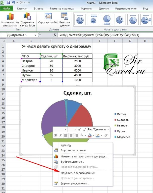 Как сделать круговую диаграмму в ворде 2003 с процентами