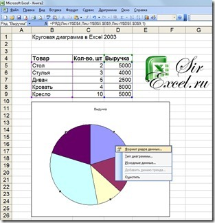 Круговая диаграмма в Excel 2003 - подписи данных